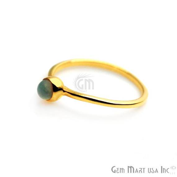 4mm Round White Opal Stackable Band Ring - Ring Size 8US (12062)