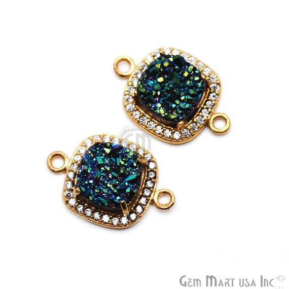 Druzy With Cubic Zircon Pave 8mm Cushion Shape Gold Plated Double Bail Gemston Connector (40015)