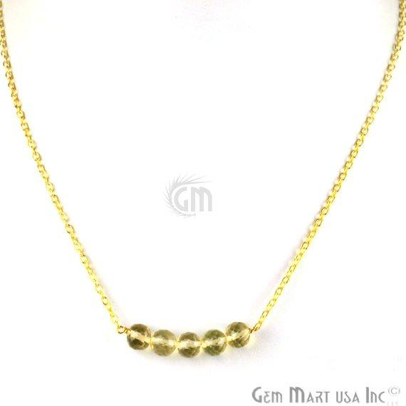 Faceted Gemstone Bead Charm 18 Inch Long Necklace Chain (Pick your Gemstone, Plating)
