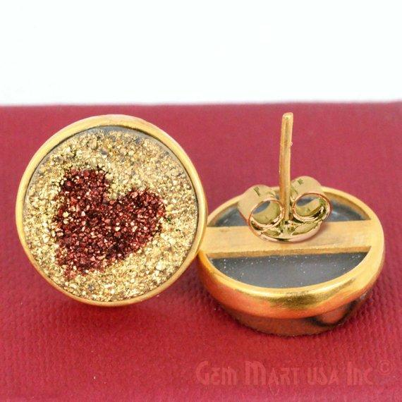 Round Shape 16mm Gold Plated Druzy Stud Earrings (Pick your Gemstone) (90001-2)