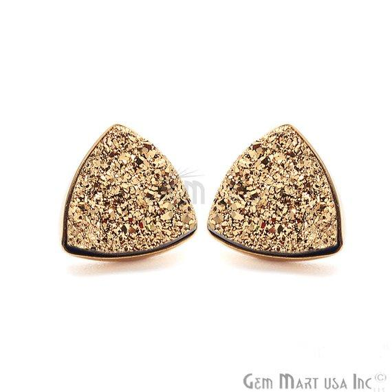 Trillion Shape 10mm Gold Plated Druzy Stud Earrings (Pick your Gemstone) (90013-1)