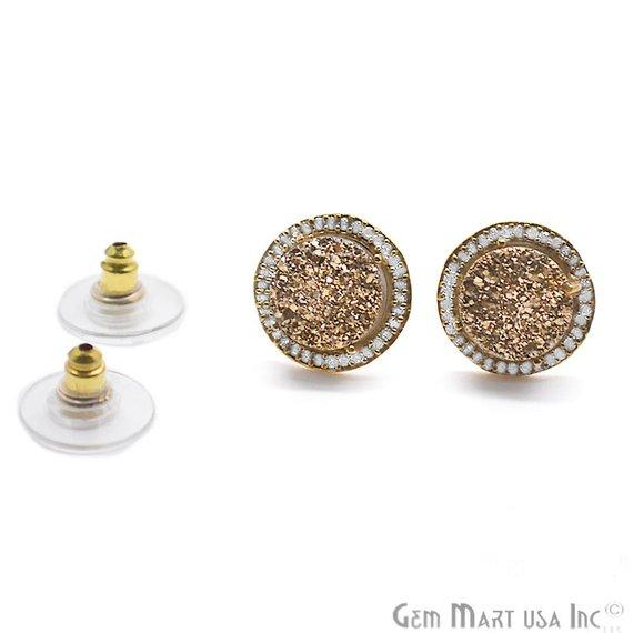 CZ Pave Round 10mm Gold Plated Druzy Gemstone Stud Earring Choose Your Gemstone (90037-2)