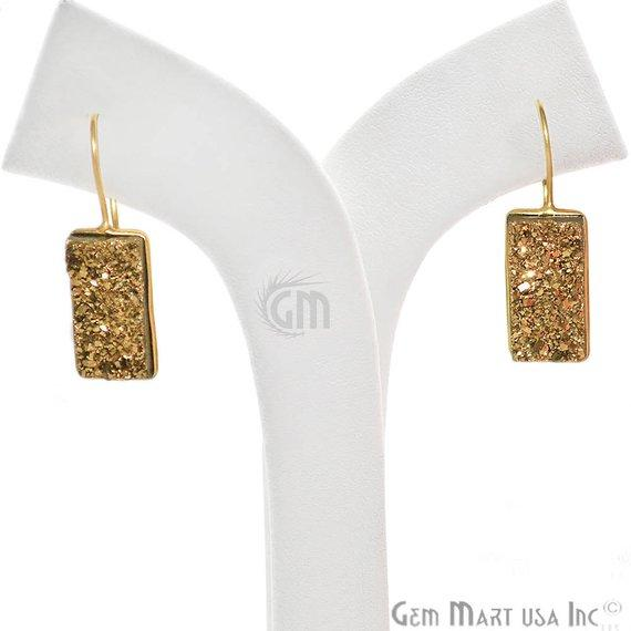 Rectangle Shape 20x12mm Gold Plated Druzy Hook Earrings (Pick your Gemstone) (90200-1)