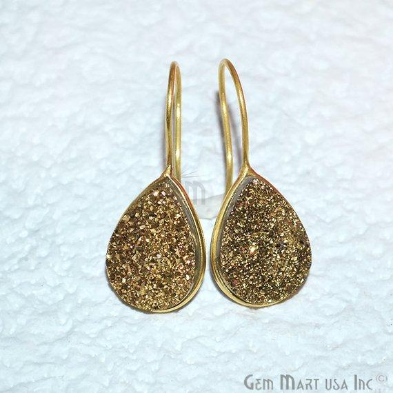 Pear Shape 19x15mm Gold Plated Druzy Hook Earrings (Pick your Gemstone) (90201-1)