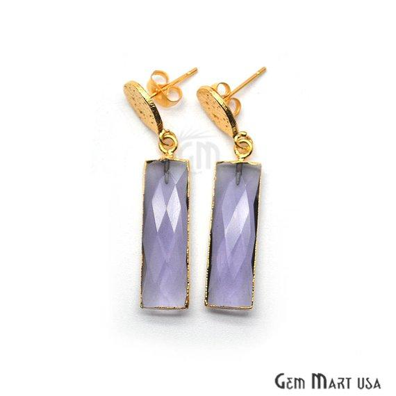 Rectangle Shape 42x9mm Gold Plated Gemstone Hook Earrings (Pick your Gemstone) (90196-1)