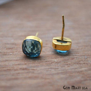 Cushion Shape 8mm Gold Plated Gemstone Stud Earrings 1 Pair (Pick your Gemstone)