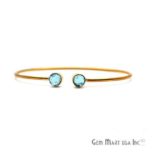 Blue Topaz 6mm Round Shape Gold Plated Handmade Adjustable Bangle Bracelet