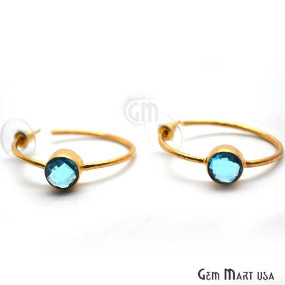 Round Shape 8mm Gold Plated Gemstone Loop Earrings 1 Pair (Pick your Gemstone)