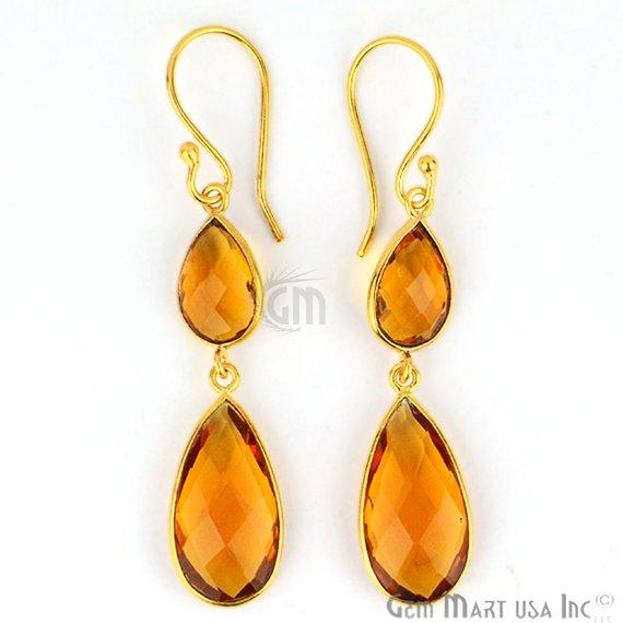 Pear Shape 10x56mm Gold Plated Gemstone Hook Earrings (Pick your Gemstone) (90059-1)