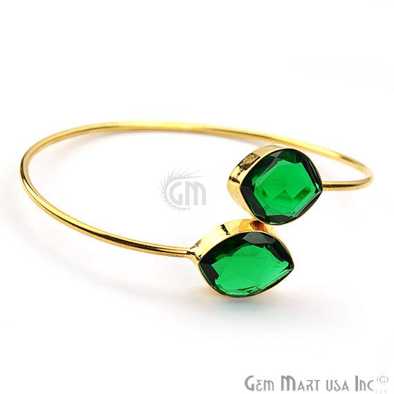 Hydro Emerald 14X18mm Marquise Shape Gold Plated One Size Fits Most Handmade Bangle Bracelet (HEBA-19023)