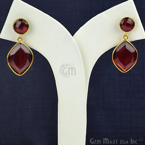 Gold Plated Pears & Round 31x15mm Gemstone Dangle Stud Earring Choose Your Style (90094-1)