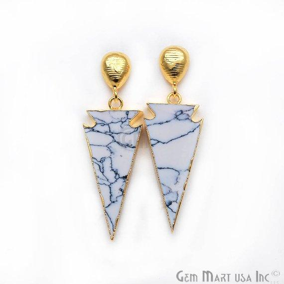 Triangle Shape 45x11mm Gold Plated Sediment Jasper Stud Earrings (Pick your Gemstone) (90168-1)