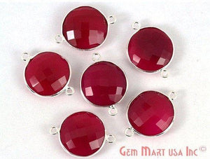 Round 16mm Double Bail Silver Bezel Gemstone Connector (Pick Your Gemstone & Lot Size) - GemMartUSA
