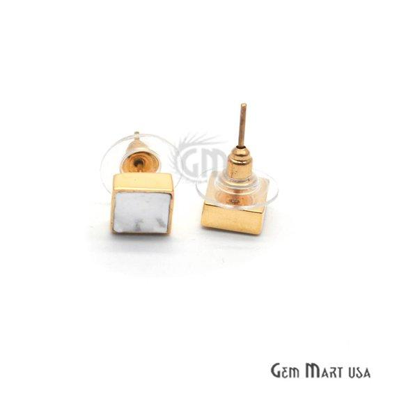 Square Shape Studs, 8mm Gold Plated Gemstone Studs Earring 1pc Choose Your Gemstone (90022-1)