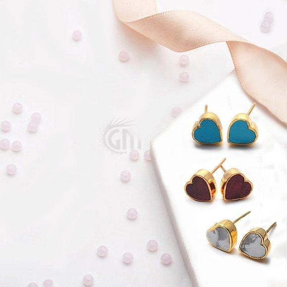 Heart Shape Studs, 8mm Gold Plated Gemstone Simple Love Studs Earring Choose Your Gemstone (90025-1)