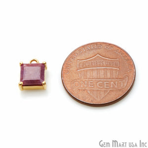 Ruby Prong Setting Gold Plated Single Bail Gemstone Connector - GemMartUSA