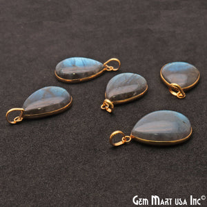 Labradorite Cabochon 29x19mm Pears Gemstone Connector Pendant