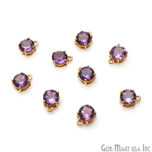 Amethyst Prong Setting Round 7mm Gold Plated Gemstone Connector - GemMartUSA