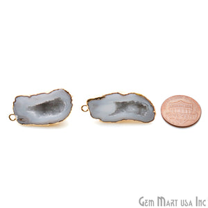 DIY Agate Slice Geode Druzy 35x17mm Gold Electroplated Loop Connector Studs Earrings - GemMartUSA