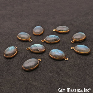 Flashy Labradorite 14x10mm Cabochon Oval Connector - GemMartUSA