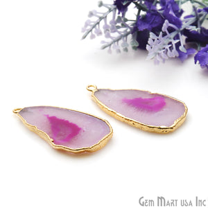 Agate Slice 21x40mm Organic Gold Electroplated Gemstone Earring Connector 1 Pair - GemMartUSA
