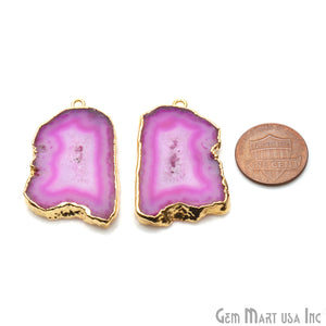 Agate Slice 35x23mm Organic Gold Electroplated Gemstone Earring Connector 1 Pair - GemMartUSA