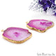 Agate Slice 40x29mm Organic Gold Electroplated Gemstone Earring Connector 1 Pair - GemMartUSA