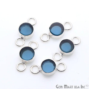 Round Shape 8mm Gemstone Double Big Bail Silver Connector (Pick Your Gemstone)