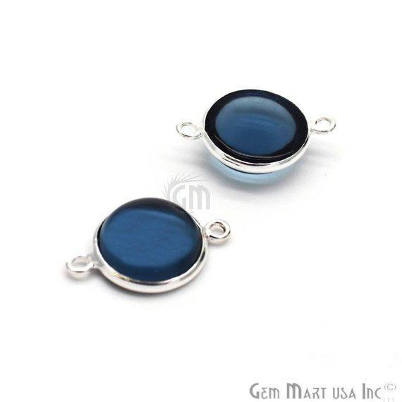 Round Shape 8mm Iolite Double Bail Cabochon Connector (Pick Your Plating)
