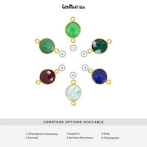 Round 16mm Double Bail Gold Bezel Gemstone Connector