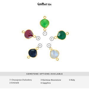 Heart 12mm Gold Bezel Double Bail Gemstone Connector