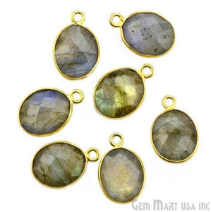 Oval 9x11mm Single Bail Gold Bezel Gemstone Connector (Pick Stone & Lot Size)