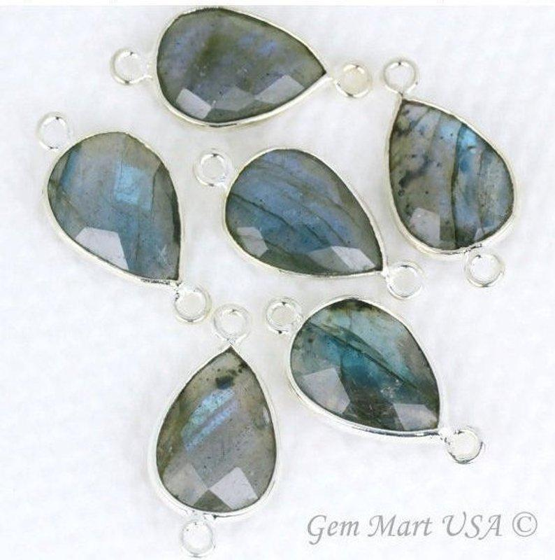 Labradorite 10x14mm Pears Gemstone Connector (Pick Your Plating)