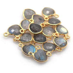 Heart Shape 8mm Gold Plated Double Bail Gemstone Bezel Connector (Pick Your Stone)