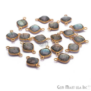 Flashy Labradorite 8mm Cushion Gold Plated Double Bail Connector