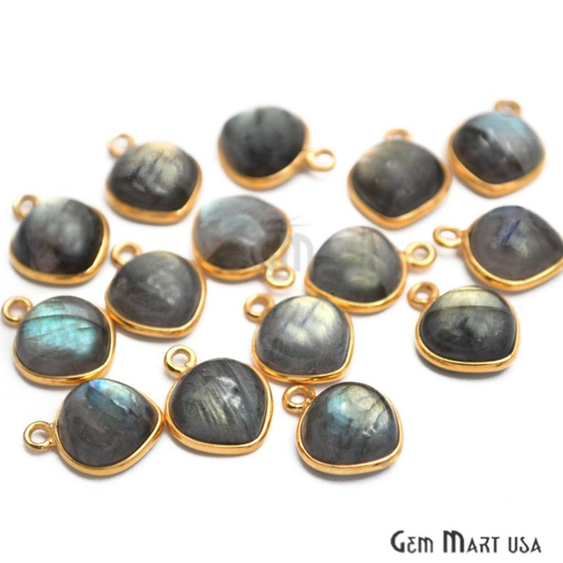 Flashy Labradorite 10mm Heart Shape Gold Plated Gemstone Connector