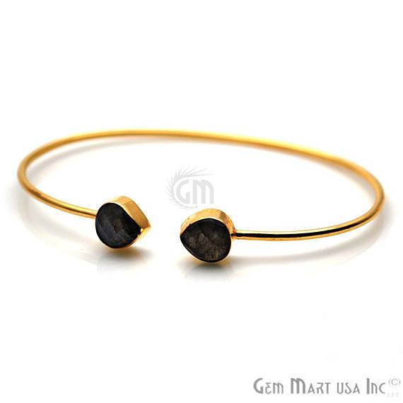 Labradorite 8mm Heart Shape Gold Plated Handmade Adjustable Bangle Bracelet (LBBA-19040)