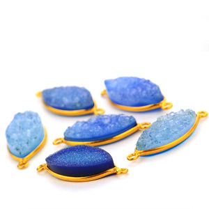 Light Blue Colored Druzy Marquise 10x20mm Gold Plated Double Bail Connector - GemMartUSA