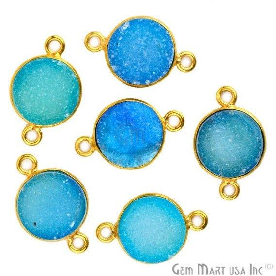 Color Druzy 10mm Round Bezel Gold Plated Double Bail Gemstone Connector (Pick Your Color) (11155)