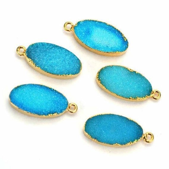 Gold Electroplated Druzy 10X20mm Oval Shape Druzy Gemstone Connector (Pick Your Color, Bail)