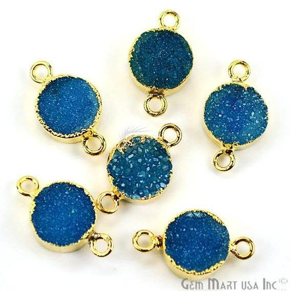 Gold Electroplated Druzy 10mm Round Shape Druzy Gemstone Connector (Pick Your Color, Bail)