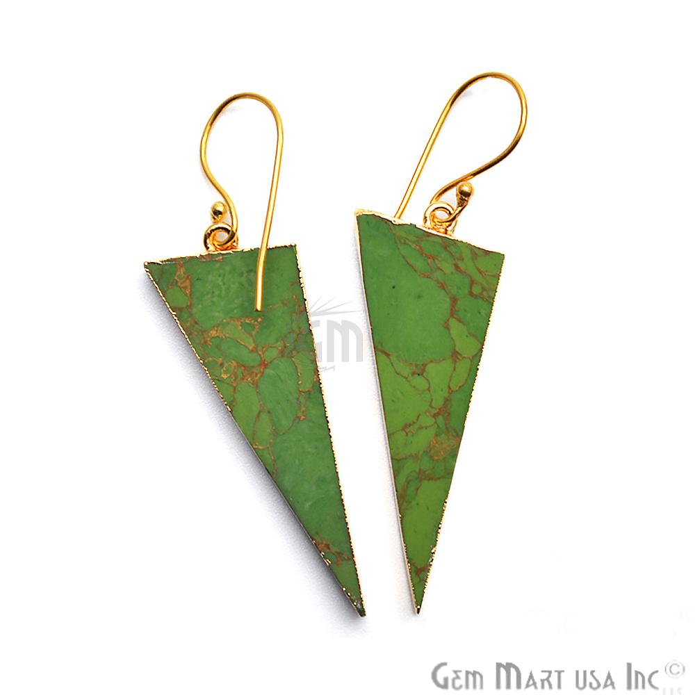 Triangle Shape 42x16mm Gold Plated Sediment Jasper Hook Earrings 1Pair (Pick your Gemstone)