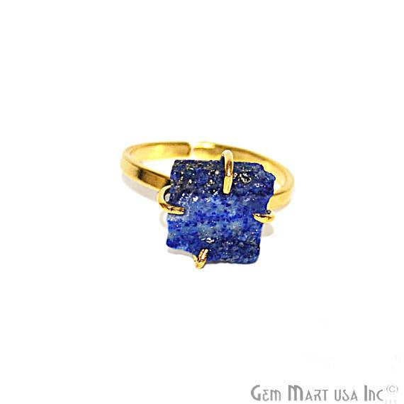 Gold Plated Rough Gemstone Prong Setting Adjustable Claw Ring (12006)
