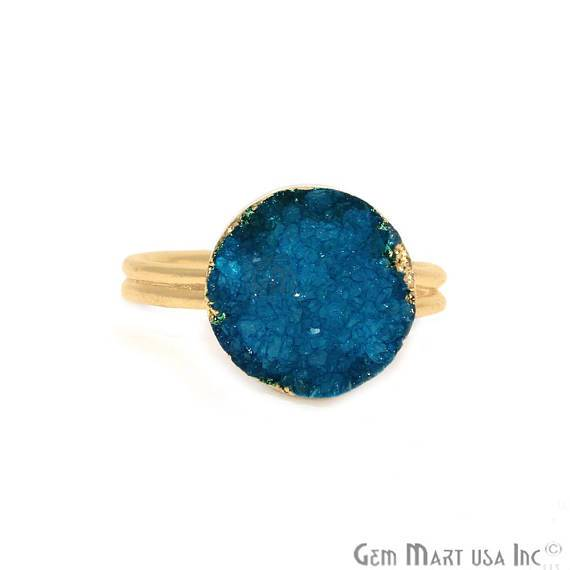 Gold Plated Light Blue Druzy Gemstone Statement Ring (LZRG)