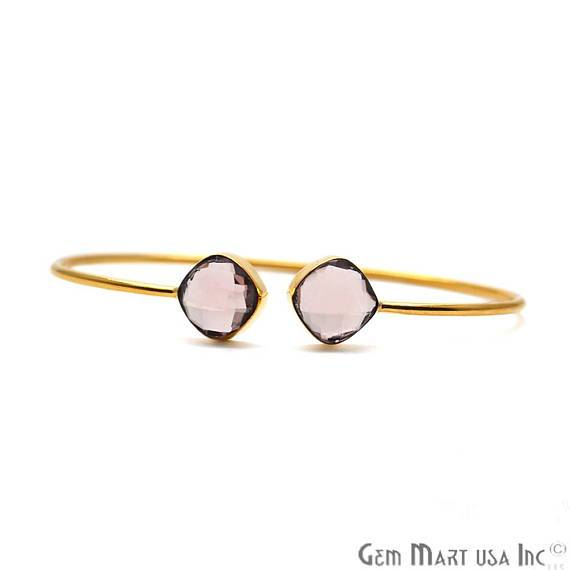 Morganite 10mm Cushion Shape Gold Plated Handmade Adjustable Bangle Bracelet