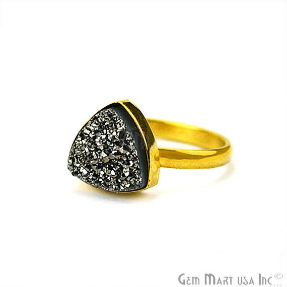 Gold Plated Trillion Shape 10mm Druzy Statement Rings (Pick your Gemstone) (12005-1)