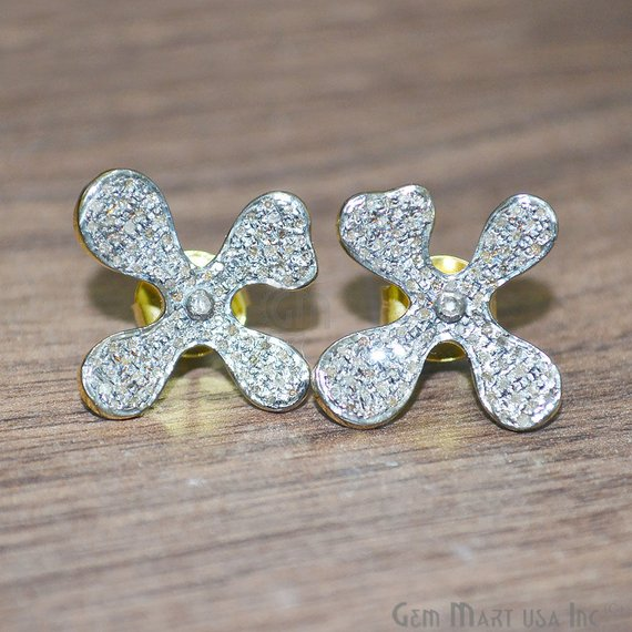 Diamond Stud Earring, Flower Shape Gold Vermeil Diamond Bridal Earrings
