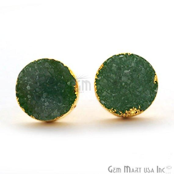 Round Shape 12mm Gold Plated Druzy Stud Earrings (Pick your Gemstone) (90012-2)