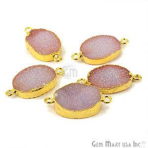 Gold Electroplated Druzy 13x18mm Oval Druzy Gemstone Connector (Pick Your Color, Bail)