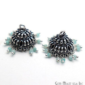 Round Shape Oxidized Dangle Earrings Supply - 1Pair (Pick your Gemstone)